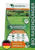Natureflow Premium Bio Rasendünger 20kg mit Mykorrhiza – 100% Pflanzlich - Organischer Dünger NPK 8+1+6 - Rasen Dünger für Kräftigen, Dichten und Gesunden Traumrasen ohne Tierexkremente