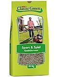 CLASSIC GREEN Rasensaat Sport und Spiel Rasensaat 10kg | Grassamen | Rasensamen 10kg | Rasensamen Sport und Spiel | Premium Rasensaat | Rasensaat Sport | Rasensaatgut | Rasensaat robust | Rasensamen Schatten